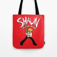shaun of the dead Tote Bags featuring Shaun vs. the Dead by HuckBlade