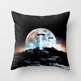The Seeding (UFO Moon Mountain) Throw Pillow