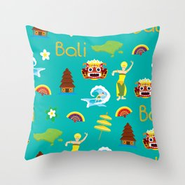 bali pattern summer tropical tosca Throw Pillow