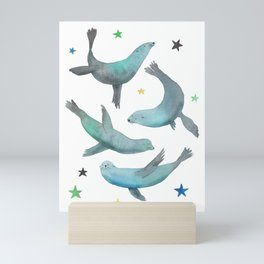 Happy sea lions Mini Art Print