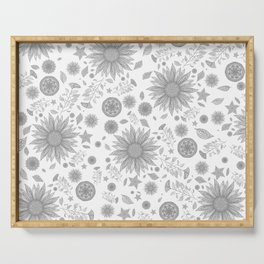 Beautiful Flowers in Faded Gray Black and White Vintage Floral Design Serving Tray