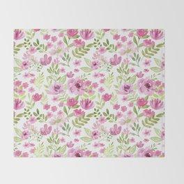 Watercolor/Ink Sweet Pink Floral Painting Throw Blanket