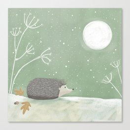 Moonlight Hedgehog Canvas Print