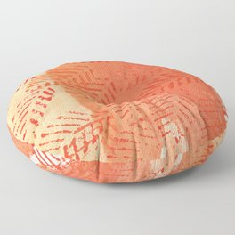 Tomato red abstract painting Floor Pillow