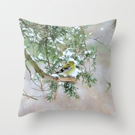 Lost in Time: April Snowstorm Throw Pillow
