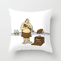 queens of the stone age Throw Pillows featuring Hitman of the Stone Age by Urban Prey