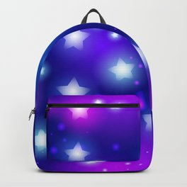 Milky Way Abstract pattern with neon stars on blue background Backpack