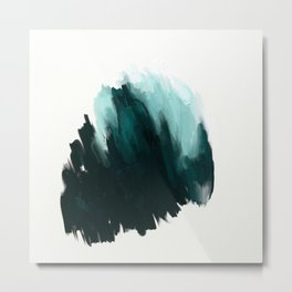 Our trip to the Oregon coast - an aqua blue abstract painting by JulesTillman Metal Print