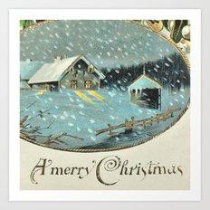 Snowy house in the woods vintage Art Print
