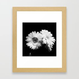 Flowers in Black and White - Nature Vintage Photography Framed Art Print