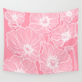 Light Pink Poppies Wall Tapestry