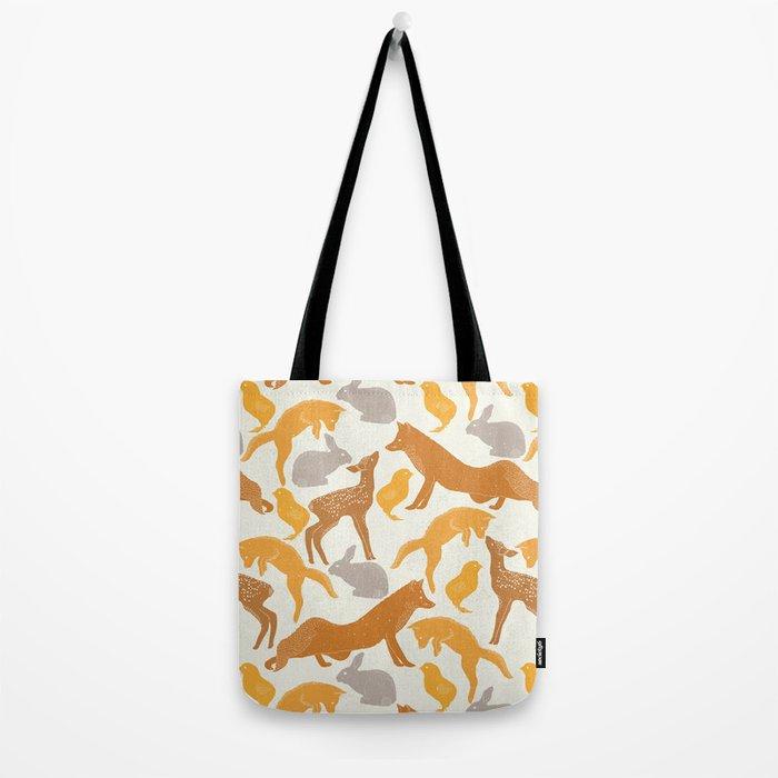 Deer Fox Rabbit Chick Playing Tote Bag
