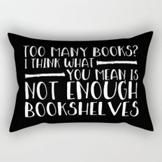 Too Many Books? (Lines - Inverted) Rectangular Pillow