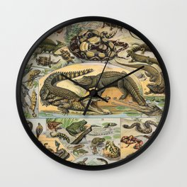 Adolphe Millot - Nouveau Larousse Illustré - Reptiles (1906) Wall Clock