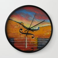 violin Wall Clocks featuring Violin by Michael Creese