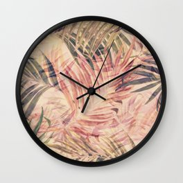 Palm Leaves in pink Wall Clock