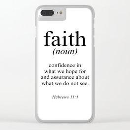 Hebrews 11:1 Faith Definition Black & White, Bible verse Clear iPhone Case