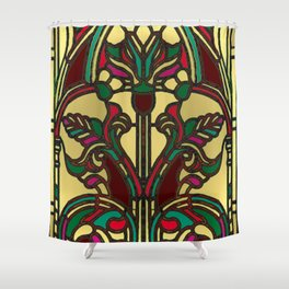 Victorian Stained Glass in Gold and Maroon Shower Curtain