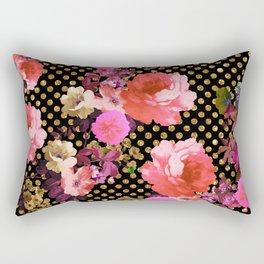 Elegant Pink Vintage Flowers Black Gold Polka Dots Rectangular Pillow