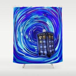 Blue Phone Box with Swirls Shower Curtain