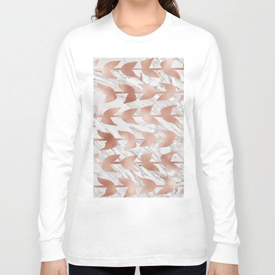 Rose gold vines on marble Long Sleeve T-shirt