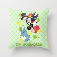 studio ghibli Throw Pillows featuring I ♥ Studio Ghibli by Lacis