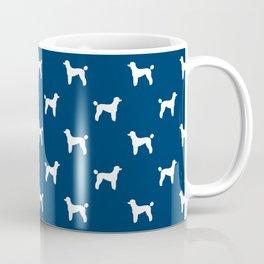 Poodle silhouette blue and white minimal modern dog art pet portrait dog breeds Coffee Mug