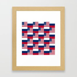 Mix of flag: Usa and russia Framed Art Print