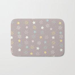 Pastel brown pink yellow Christmas snow flakes stars pattern Bath Mat
