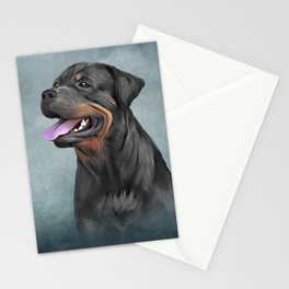 Drawing dog rottweiler Stationery Cards