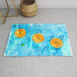 Refreshing Oranges and Ice Blocks - For Fruit Lovers  Rug