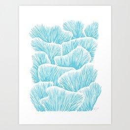 Mushroom Bouquet - Light Blue Art Print