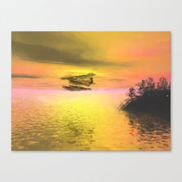 Seaplane Flight at Sunset Canvas Print