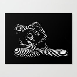 0177-DJA  Nude Woman Yoga Black White Abstract Curves Expressive Lines Slim Fit Girl Zebra Canvas Print