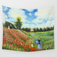 Claude Monet - Poppy Field at Argenteuil Wall Tapestry