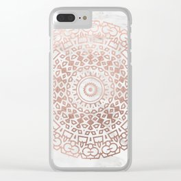 Marble mandala - beaded rose gold on white Clear iPhone Case