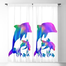 Rainbow Dolphins swimming in the sea Blackout Curtain