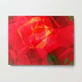 Mottled Red Poinsettia 2 Abstract Polygons 1 Metal Print