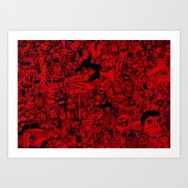 red doodle Art Print