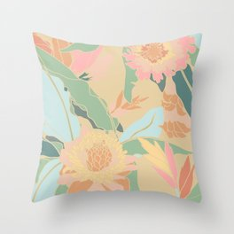 Hawaiian Ginger Floral in Sorbet Throw Pillow