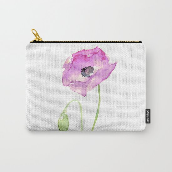 Flower Purple Poppy Floral Watercolor Carry-All Pouch