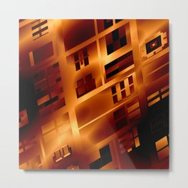 Abstract 379 Orange Geometric Windows Metal Print