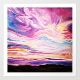 Colourful, Vibrant Abstract Sunset Oil Painting Art Print