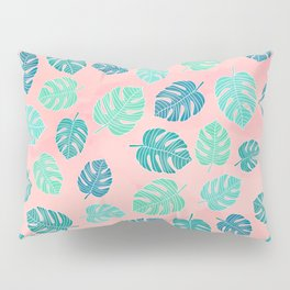 Modern green turquoise monstera leaf on blush pink watercolor pattern Pillow Sham