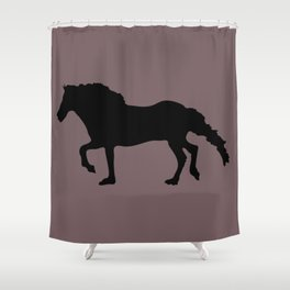 Silhouette of horse with dull pink background Shower Curtain