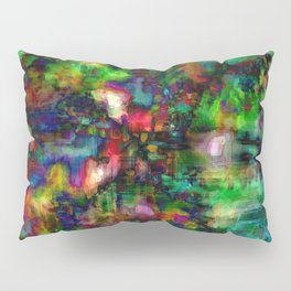 Multi Colored Green Red Abstract Dark Pillow Sham
