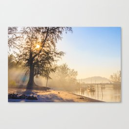 Misty morning on a river estuary, Trang province, Thailand Canvas Print