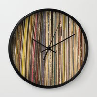 records Wall Clocks featuring Records by Cassia Beck