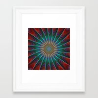 fractal Framed Art Prints featuring Peacock fractal by David Zydd