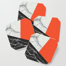 Black and White Marble with Pantone Flame Color Coaster